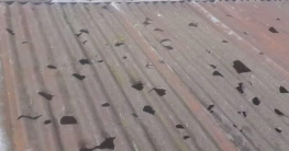 ভারী শিলাবৃষ্টিতে ঝাঁঝড়া হয়ে গেছে শতাধিক ঘরের টিনের চালা